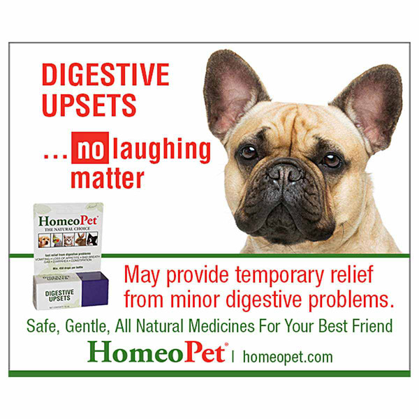 May provide temporary relief from minor digestive problems in pets with the HomeoPet Digestive Upsets pet supplement