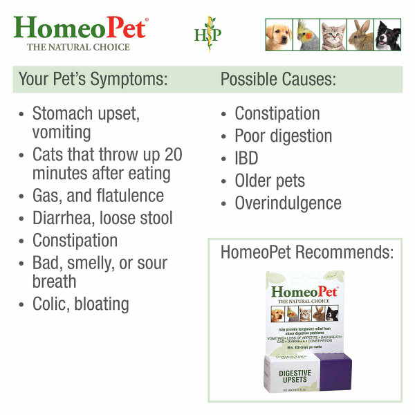 Possible causes and symptoms that can be treated with HomeoPet Digestive Upsets pet supplements