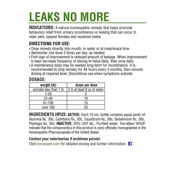 Directions for using the HomeoPet Leaks No More