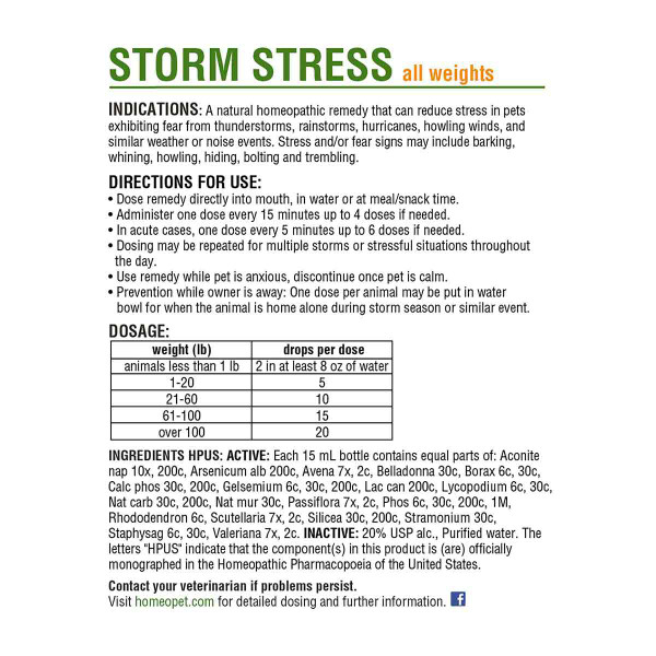 Directions for using the HomeoPet Storm Stress K-9 pet supplement