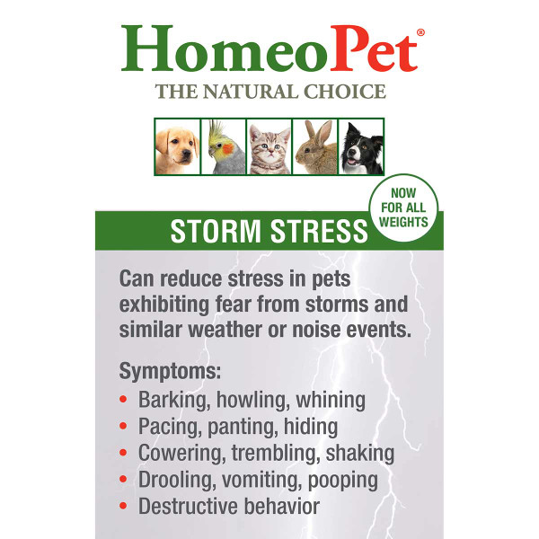 Treat symptoms from storm stress with the HomeoPet Storm Stress K-9 pet supplement
