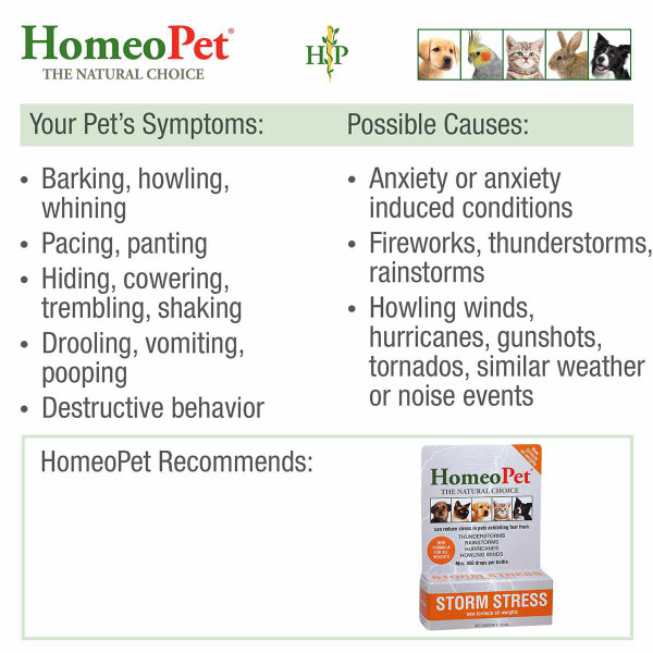 Symptoms treatable with the HomeoPet Storm Stress K-9 pet supplement