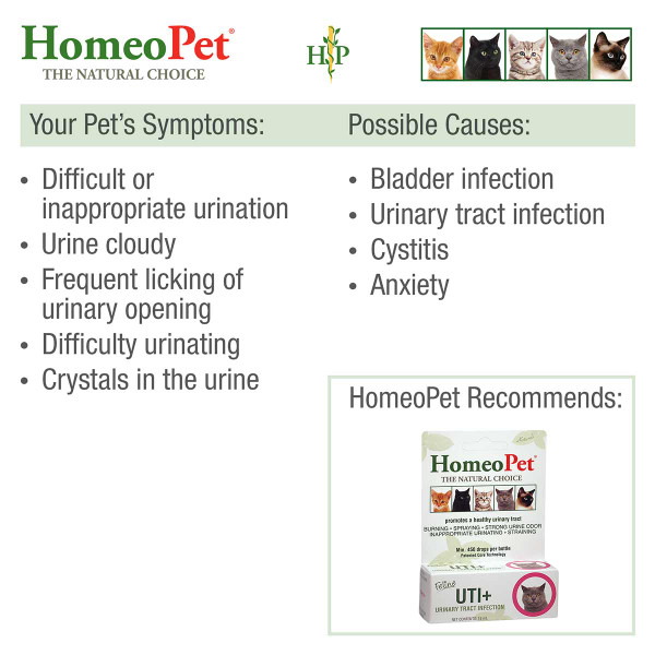 Symptoms and causes that may be treated with HomeoPet Feline UTI