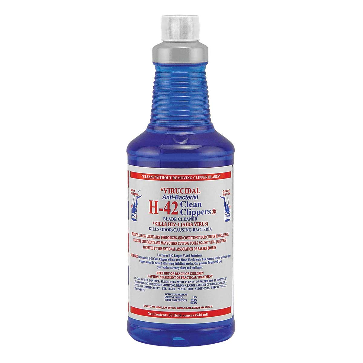 32 oz Jug Virucidal Anti-Bacterial H-42 Clean Clippers Blade Cleaner for Groomers