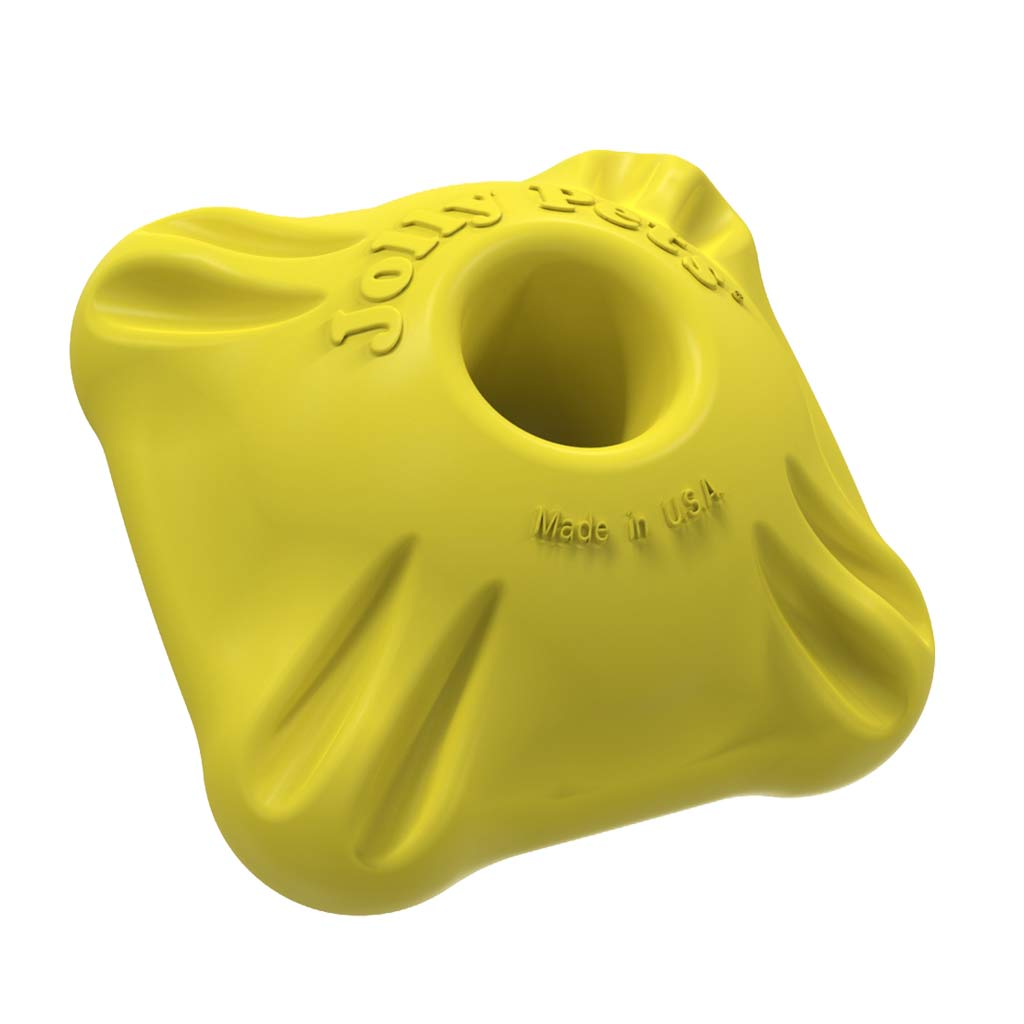 Yellow 2 inch Flex-n-Chew Squarble Durable Dog Toy available at Ryan's Pet Supplies