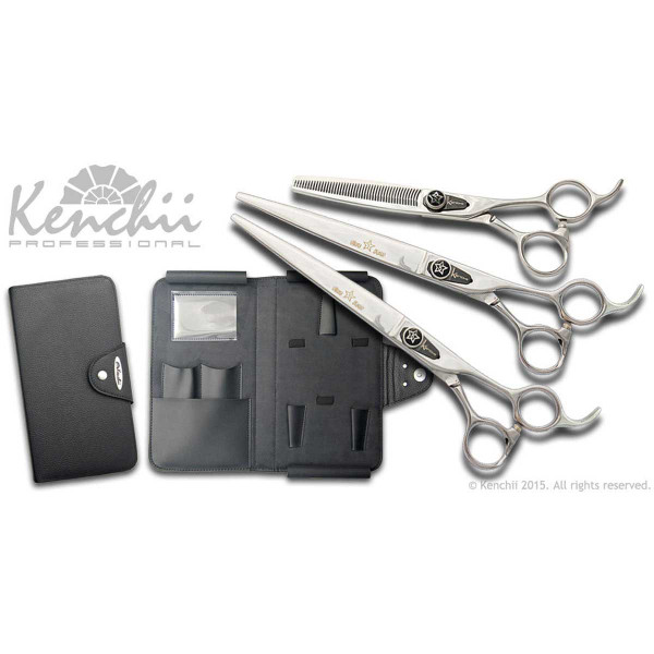 Kenchii Professional 8 inch Five Star Shear Set - Includes three Shears and a Shear Oragnizer