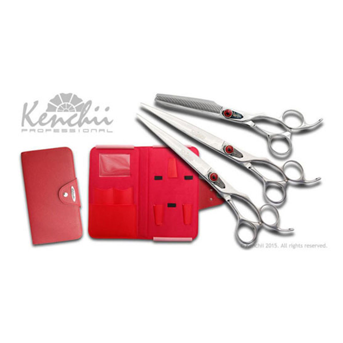 Kenchii Professional Spider Shear Set - Includes Spider 8 inch Straight Shear, 8 inch Curved Shear and 44 Tooth Thinner