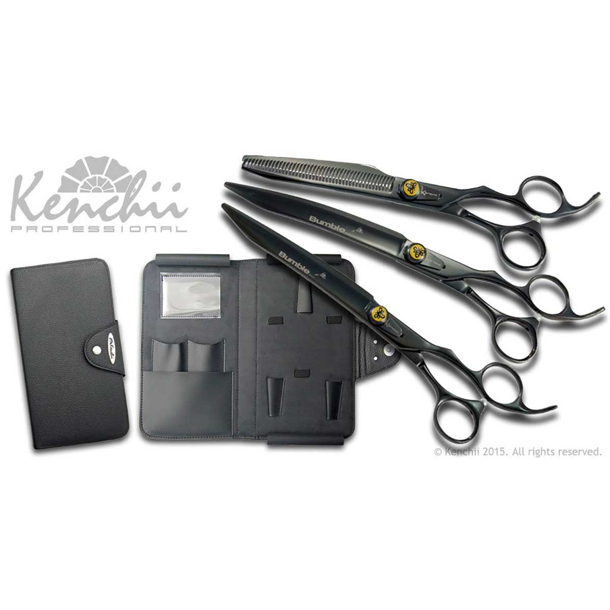 Kenchii Bumble Bee 8 in Shear Set - Includes Bumble Bee 8 in Straight Shear, 8 in Curved Shear and 44 Tooth 7 in Thinner.