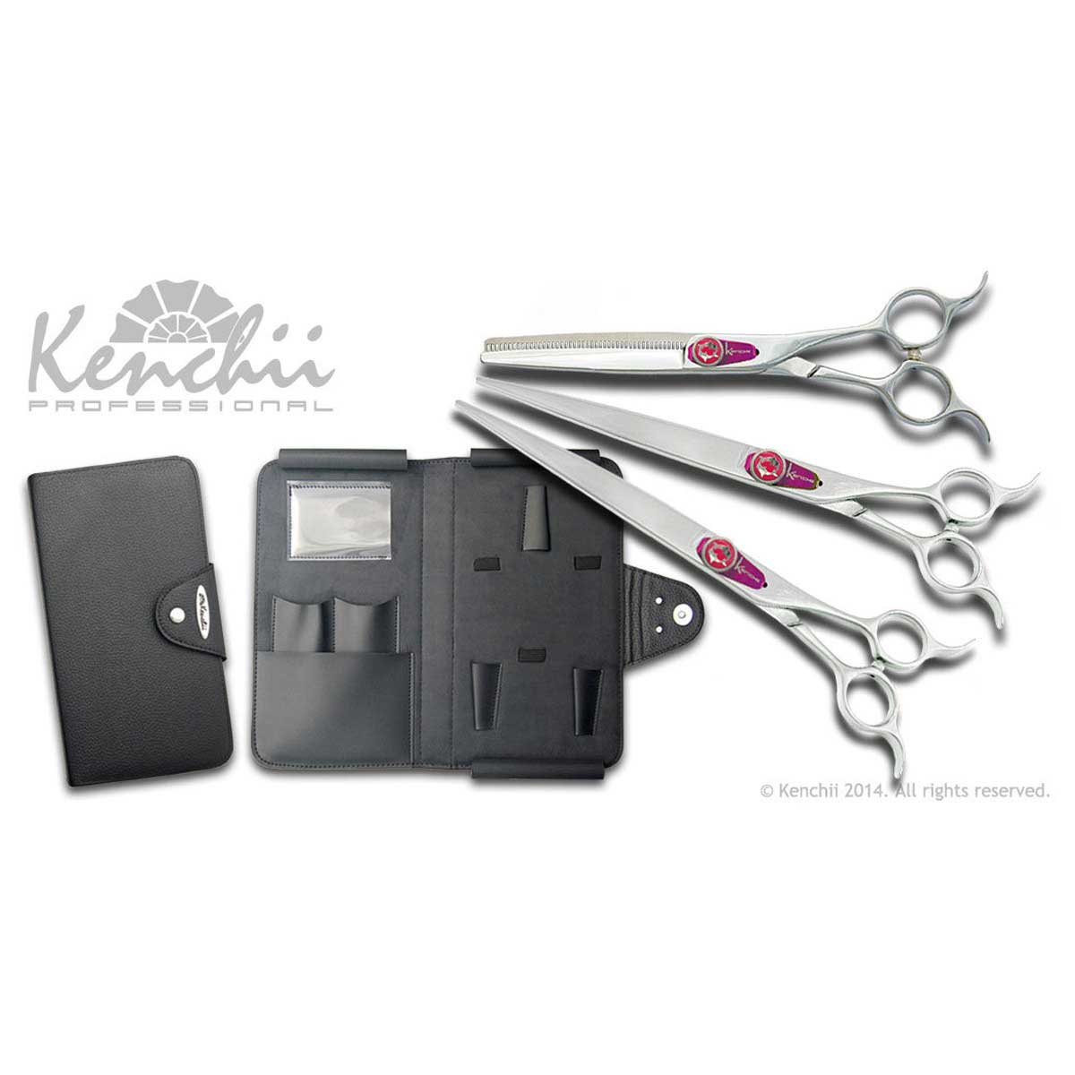 Kenchii Professional Flipper Shear Set includes Flipper 8 in Straight Shear, 8 in Curved Shear, 46 Tooth 6.5 in Thinner