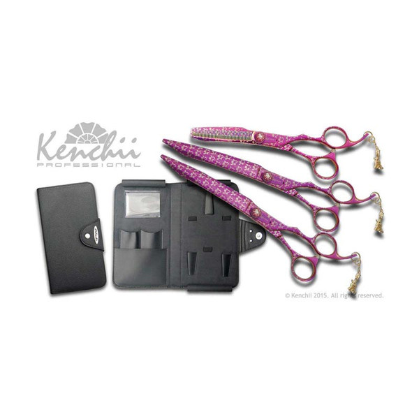 Kenchii Professional Pink Poodle 8 in Shear Set includes 8 in Straight Shear, 8 in Curved Shear and a 44 Tooth 6 in Thinner