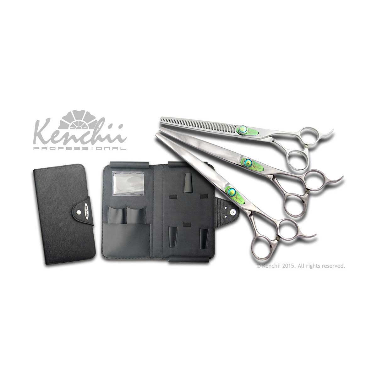 Kenchii Professional T-Series Shear Set includes 8 in Straight Shear, 8 in Curved Shear and a 48 Tooth 6.5 in Thinner