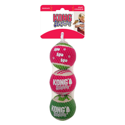 KONG Holiday SqueakAir Ball 3-Pack Medium Dog Toys