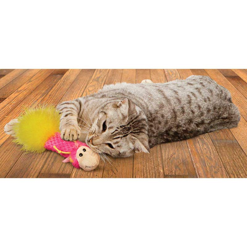 Cat playing with Pink KONG Cat Pillow Critter Toy