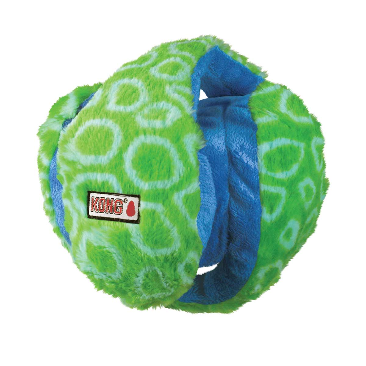 Medium KONG Funzler Six Squeaker Toy Green and Blue