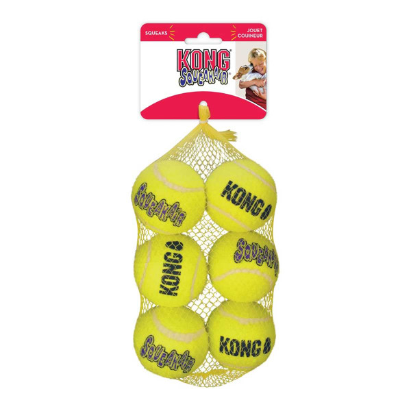 6 Pack Medium KONG SqueakAir Tennis Balls Dog Toys