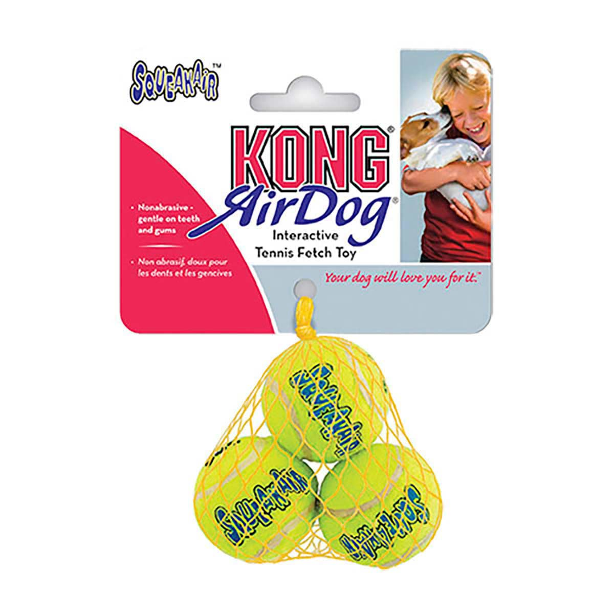 3 Pack KONG Airdog Squeaker Tennis Balls for Dogs - Small 2 inch