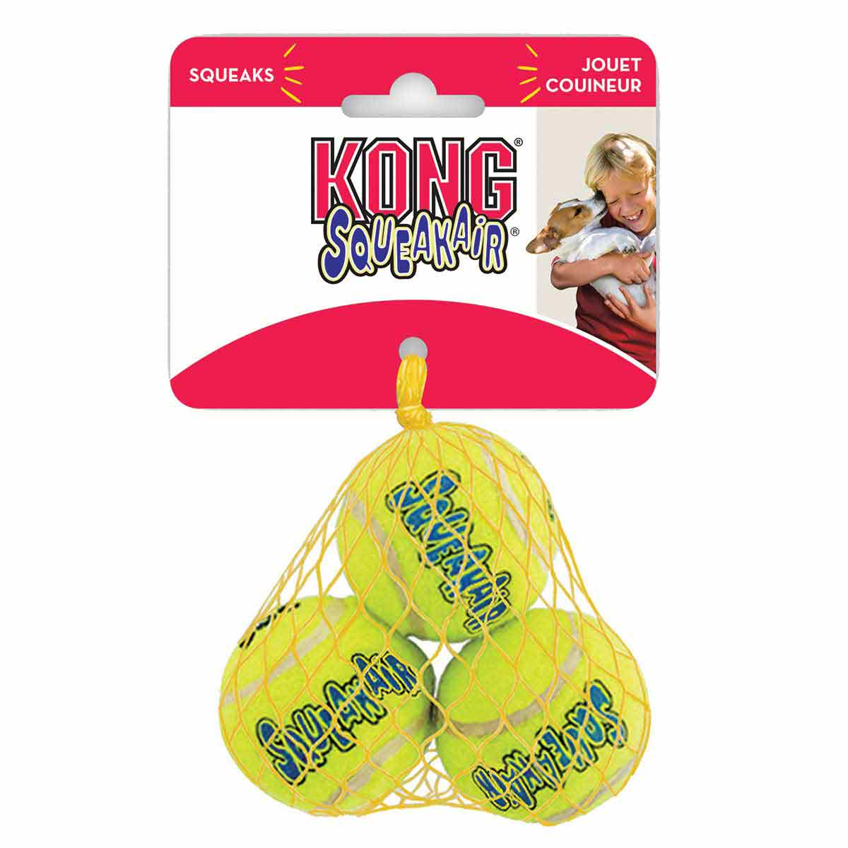 3 Pack X-Small KONG Squeaker Tennis Balls - 1.5 inches