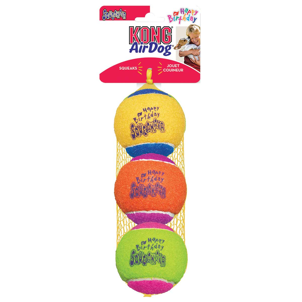 3 pack of KONG Happy Birthday Tennis Balls for Dogs