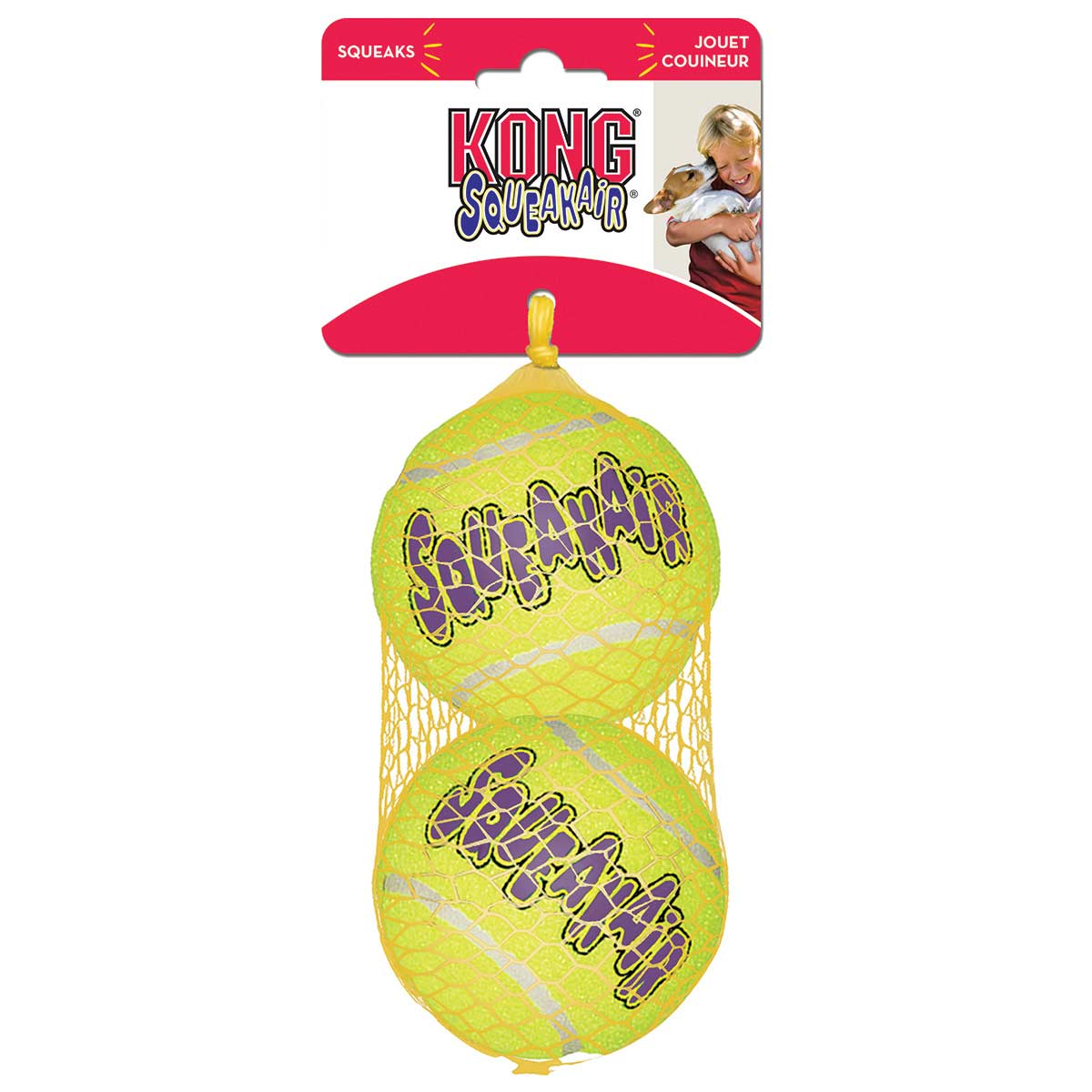 2 Pack Large KONG Air Dog Squeaker Tennis Ball 3 inches
