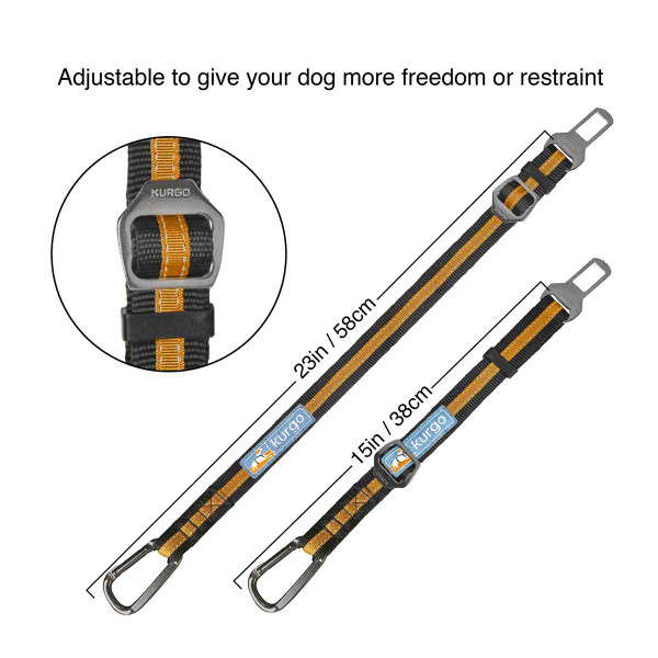 Adjustable to give your dog more freedom or restraint from 15 to 23 inches with the Kurgo Direct to Seatbelt Tether Black/Orange