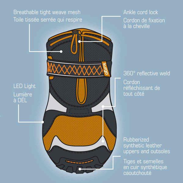Features - XL Orange Kurgo Step-n-Strobe Dog Shoes