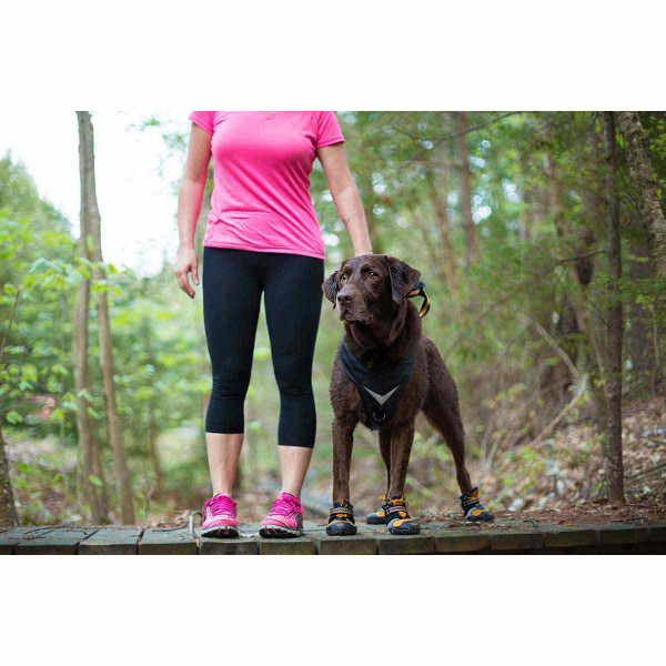 Woman and dog on the trail with XL Orange Kurgo Step-n-Strobe Dog Shoes
