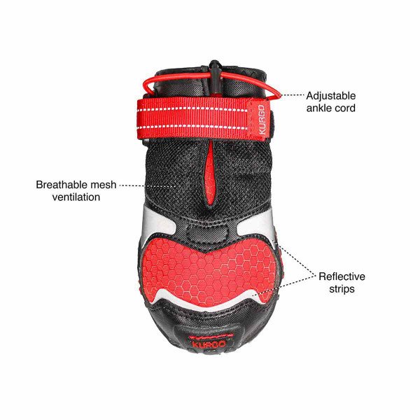 Many features of XS Chili Red Black Kurgo Blaze Cross Dog Shoes