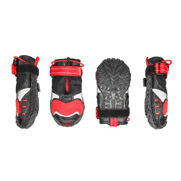 Set of four Medium Chili Red Black Kurgo Blaze Cross Dog Shoes