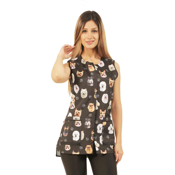 Ladybird Line Women's Black Dog Breed Waterproof Grooming Vest