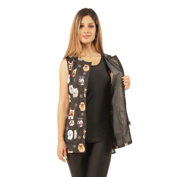 Inside view of Ladybird Line Women's Black Dog Breed Waterproof Grooming Vest