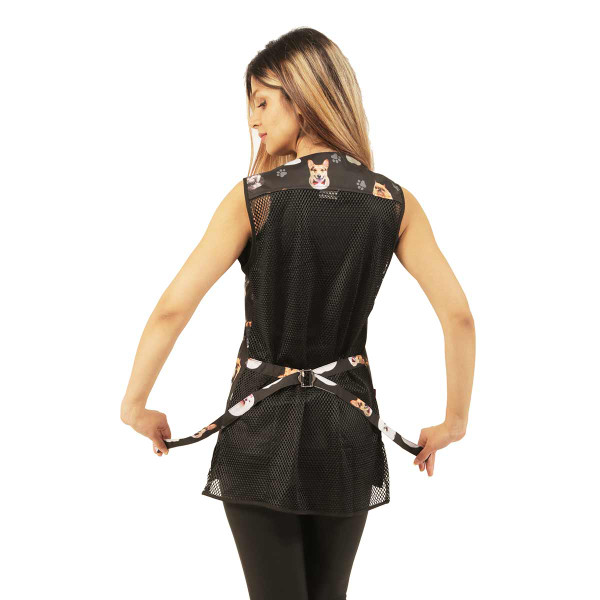 Back of Ladybird Line Women's Black Dog Breed Waterproof Grooming Vest