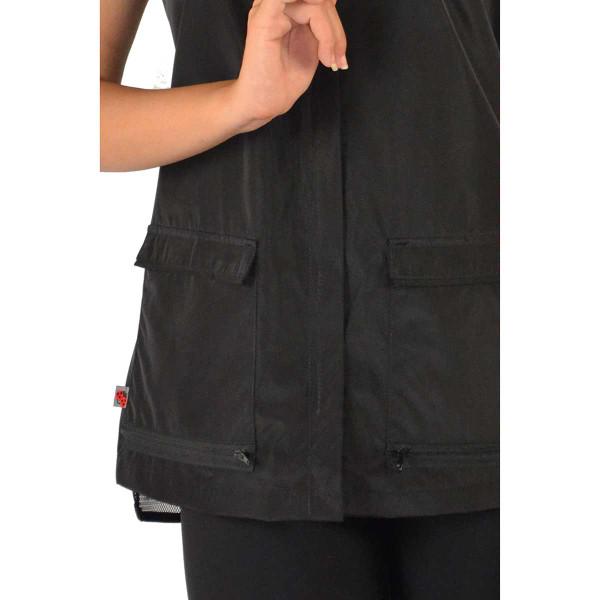 Close up of Ladybird Line Women's Black Waterproof Vest
