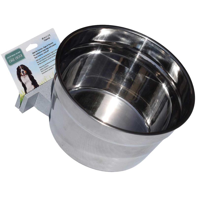 Lixit High Quality Stainless Steel 40 oz Crock Bowl for Dog Kennel