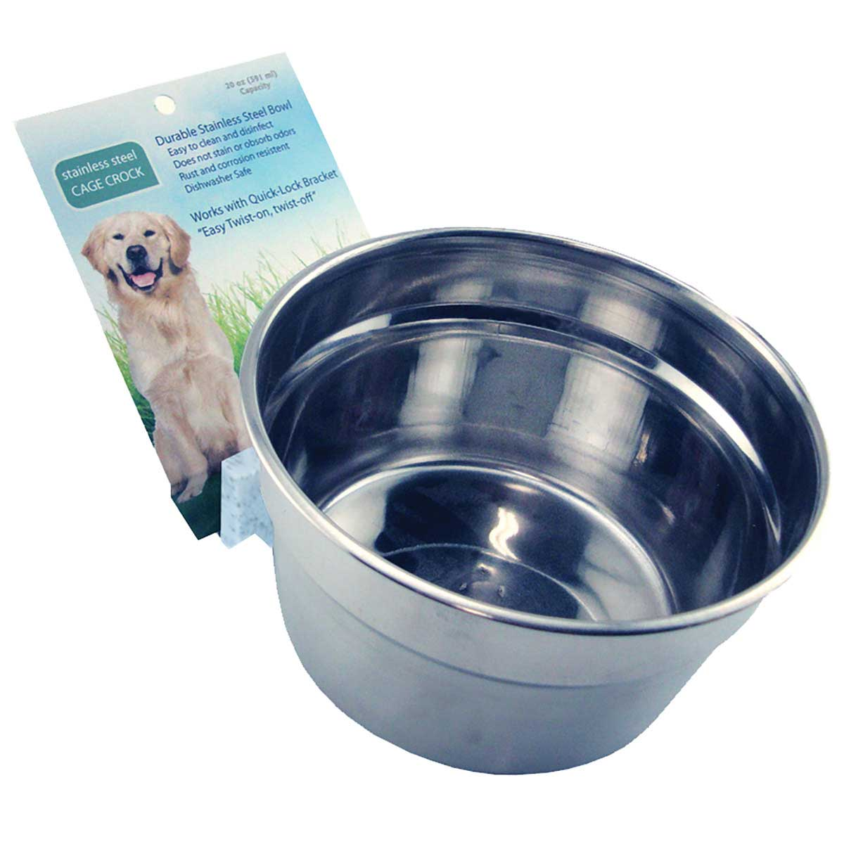 20 oz Lixit High Quality Stainless Steel Crock Bowl for Dog Kennels