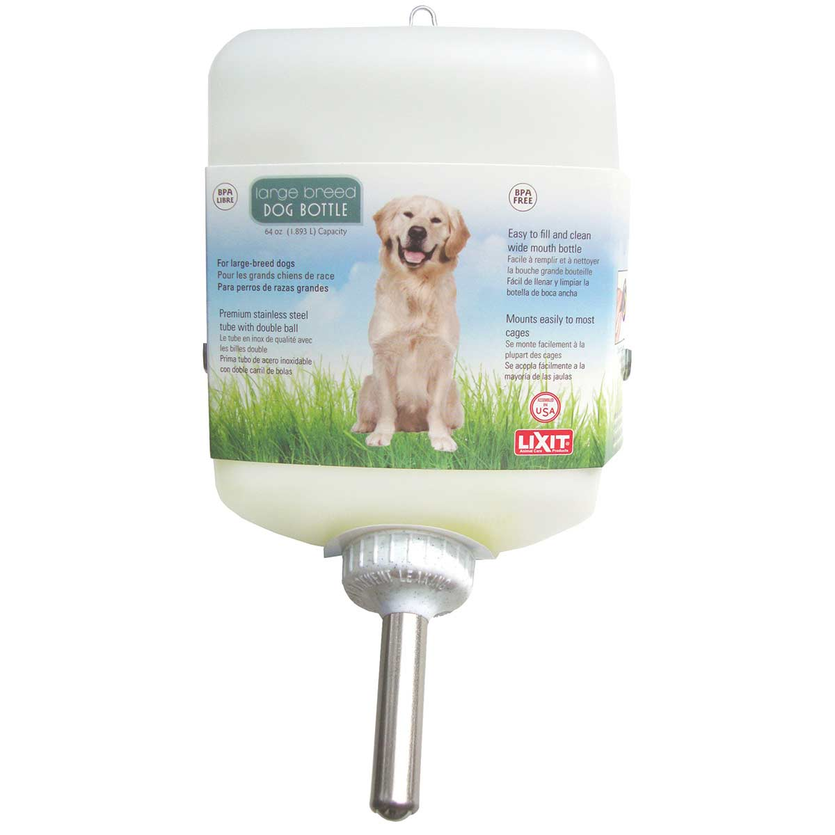 Lixit Dog Water Bottle for Kennel 64 oz