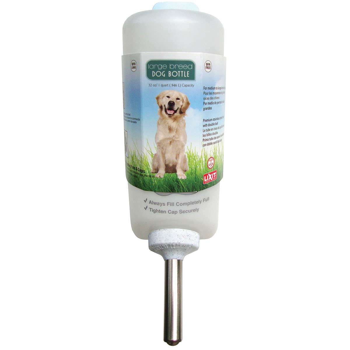 32 oz Lixit Dog Water Bottle for Kennel