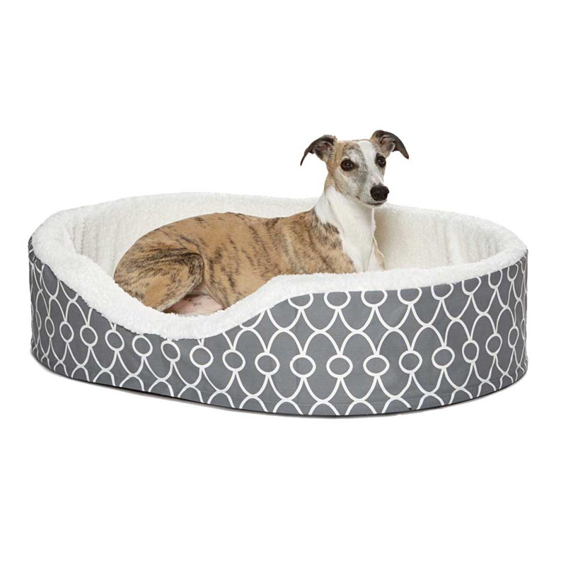 Midwest Quiet Time Orthopedic Teflon Gray Nesting Dog Bed - 42 inches by 28 inches