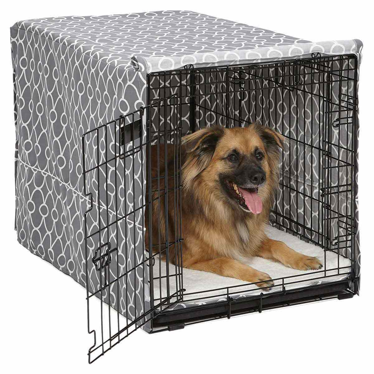 36 inch Quiet Time Crate Cover - Cute Gray Design available at Ryan's Pet Supplies