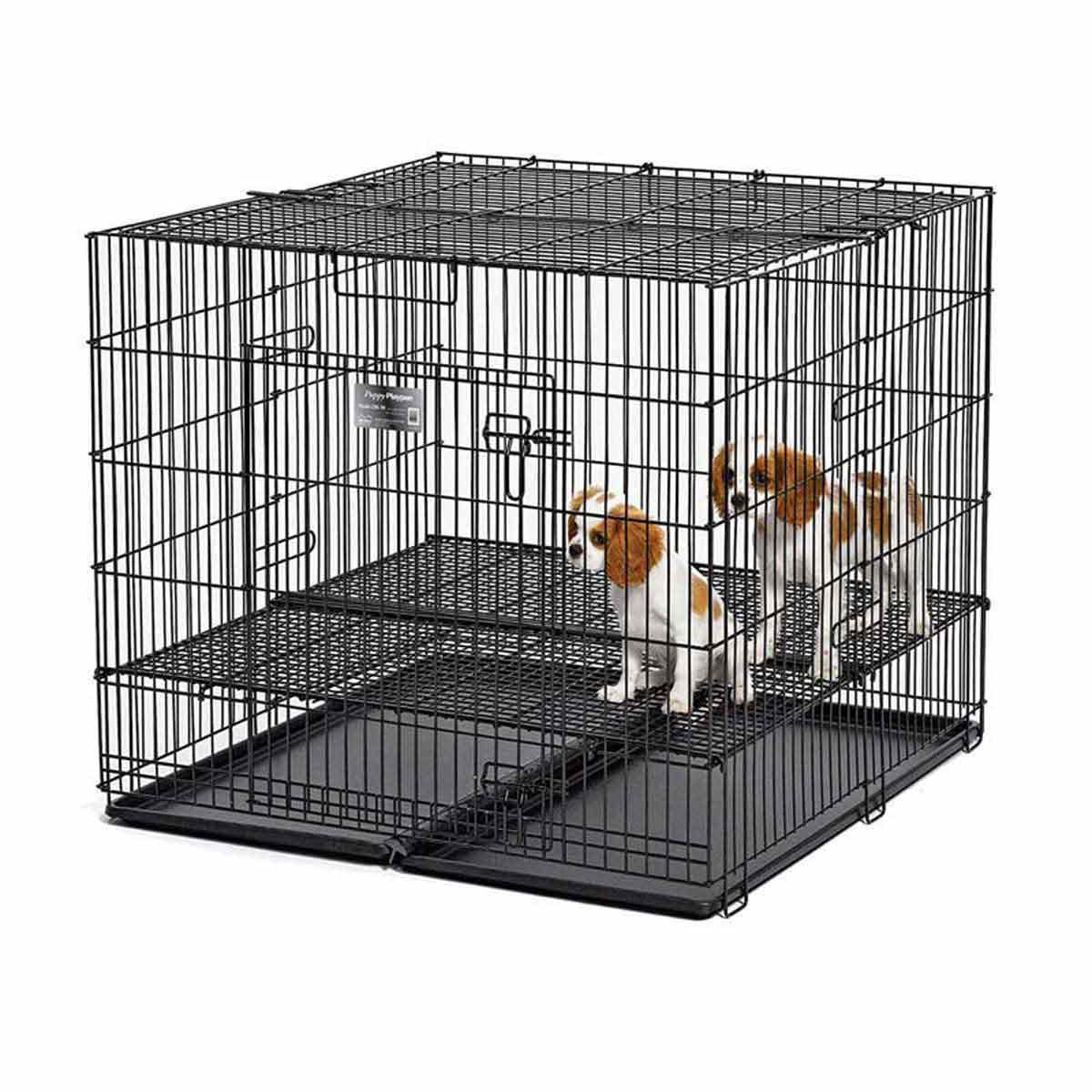 """Midwest Puppy Playpen 48 inches by 48 inches by 30 inches - 1"""" X 1"""" Floor Grid"""