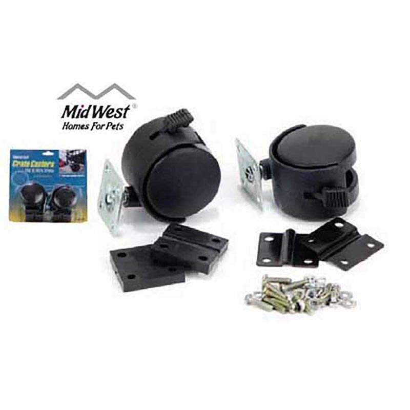 2 Pack Midwest Universal Fit Crate Casters for Dog Kennel