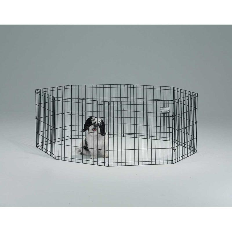 Midwest Exercise Pen Black Finish - 24 High 8 Panels without Door
