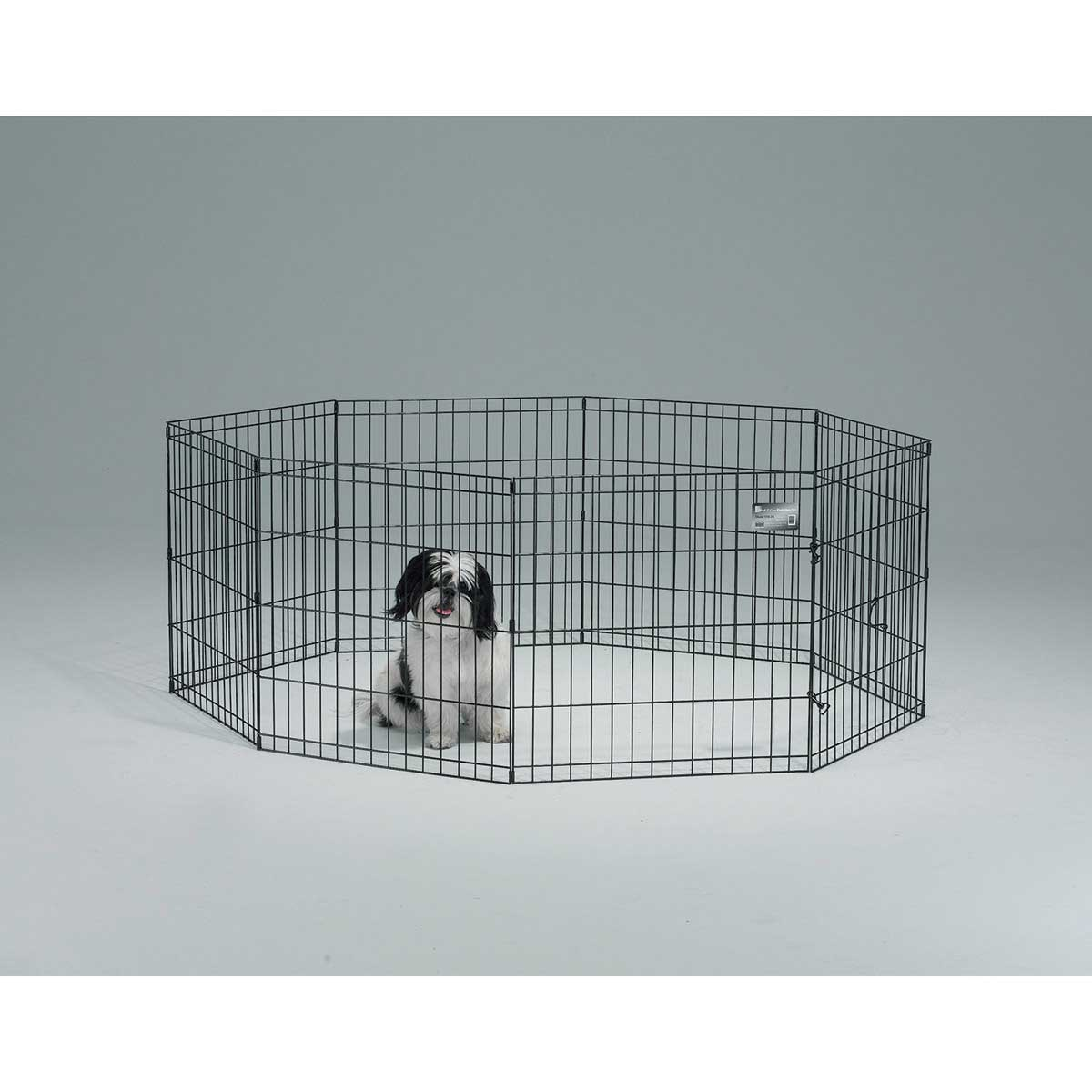 Black Finish Midwest Exercise Pen - 42 inch High 8 Panels Without Door
