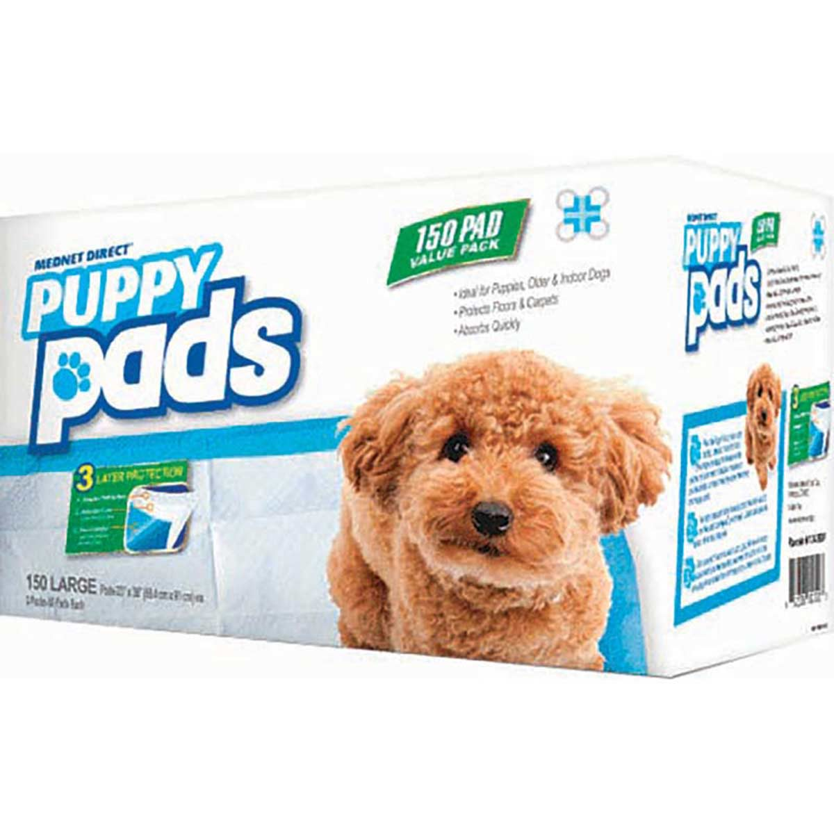 23 inches by 36 inches -150 Large Mednet Disposable Puppy Pads