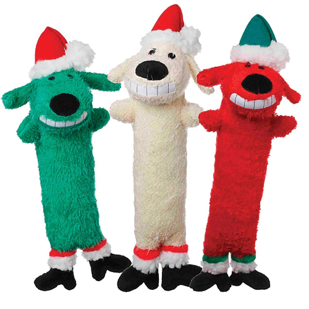 Assorted Colors of Multipet Loofa Santa Dog Toy - 12 inch