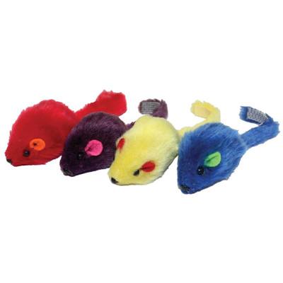 4 Pack Multipet Multicolor Mice Cat Toys