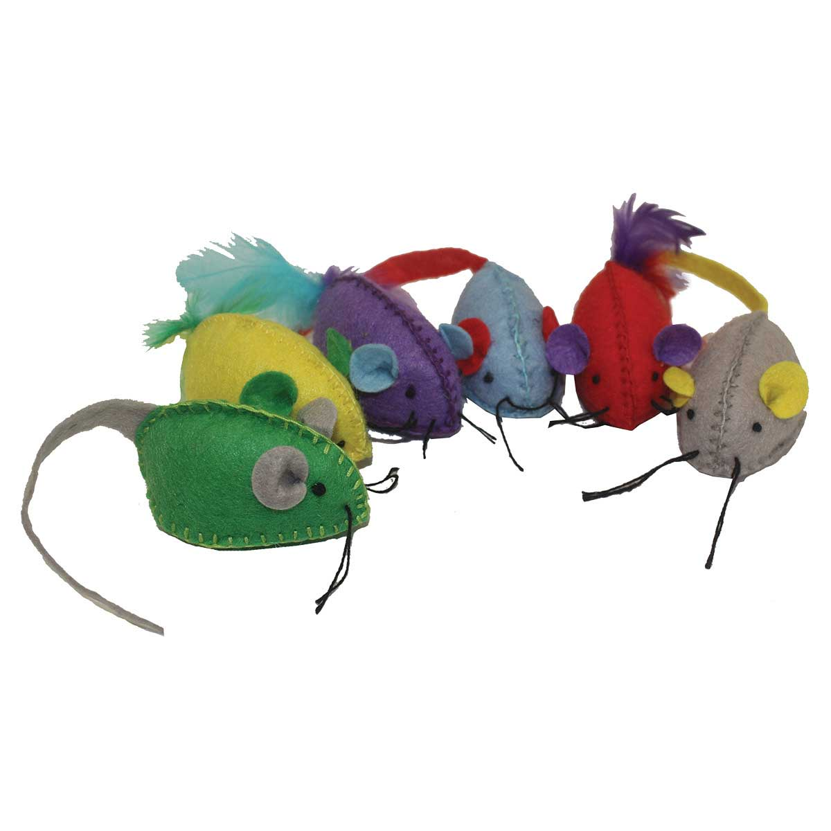 Multipet Stitch Mice 6 Pack Toys for Cats