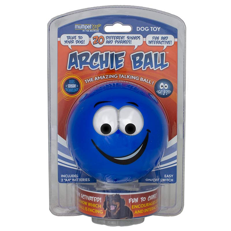 Archie Ball Interactive Dog Toy Lights up and Makes Noise available at Ryan's Pet Supplies