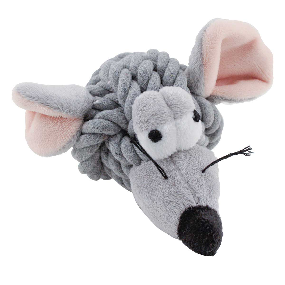 4 inchMultipet Rope Head Animal Mouse Dog Toy