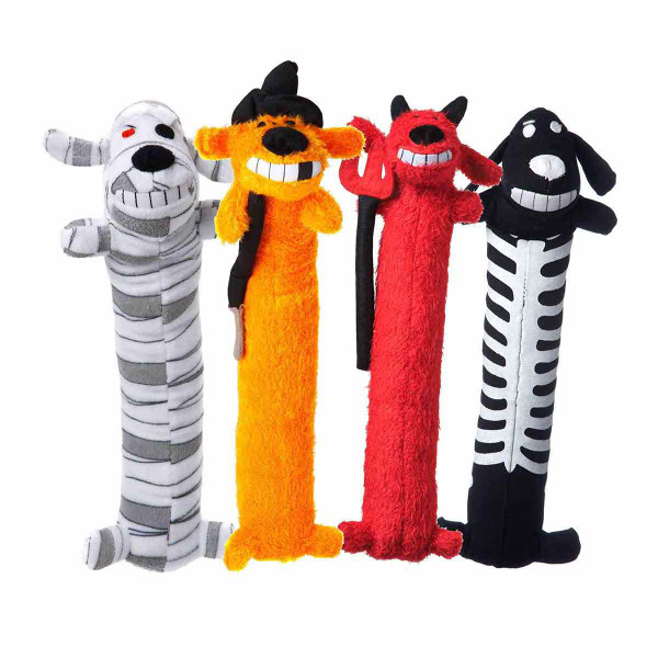 Halloween Loofas 12 inch assorted Dog Toys - Devil, Mummy, Skeleton, Witch
