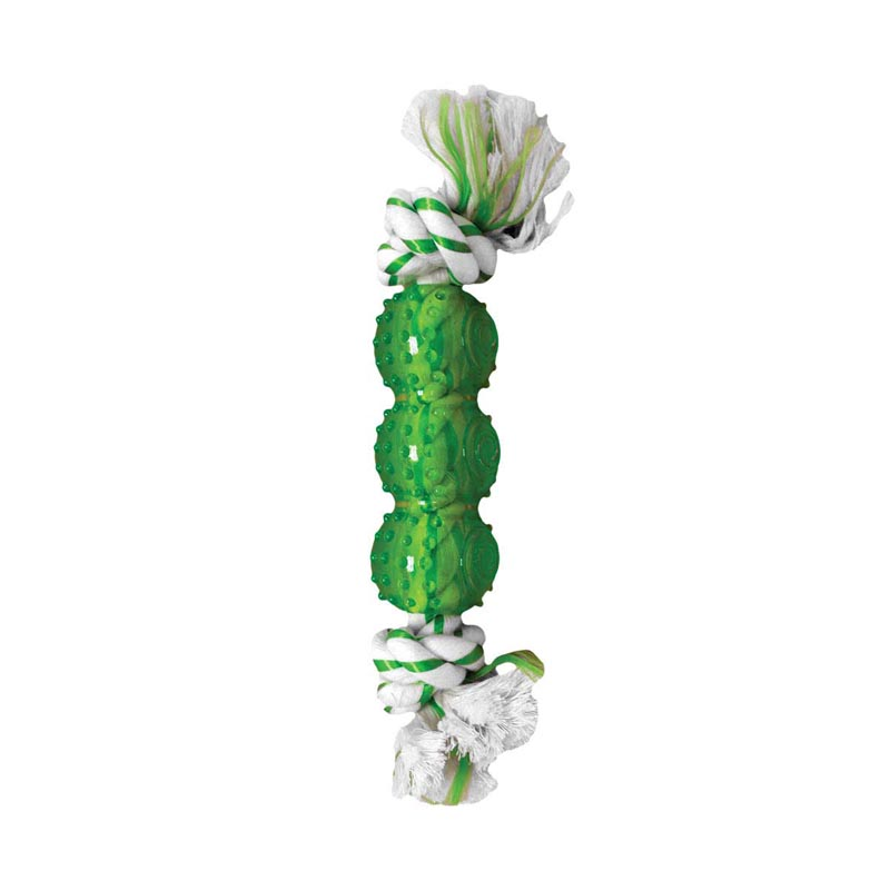 Multipet Canine Clean Spearmint Rope Dog Toy with 3 TPR Balls 6.5 inch